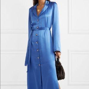 Staud Sandy Blue Satin Robe Dress XS